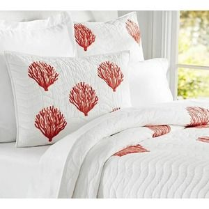Pottery Barn Quilt Set 3pc Embroidered Coral F/Q